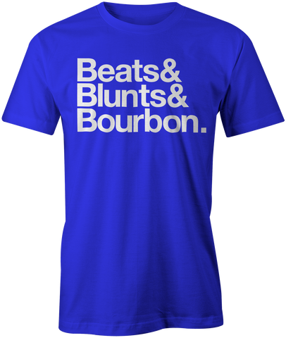 Beats&Blunts&Bourbon. | Men's OG Graphic Tee In Royal & White