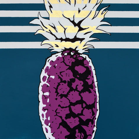 JUSTIN KING | PINEAPPLE #6 ACRYLIC & GOLD CANVAS 20X24
