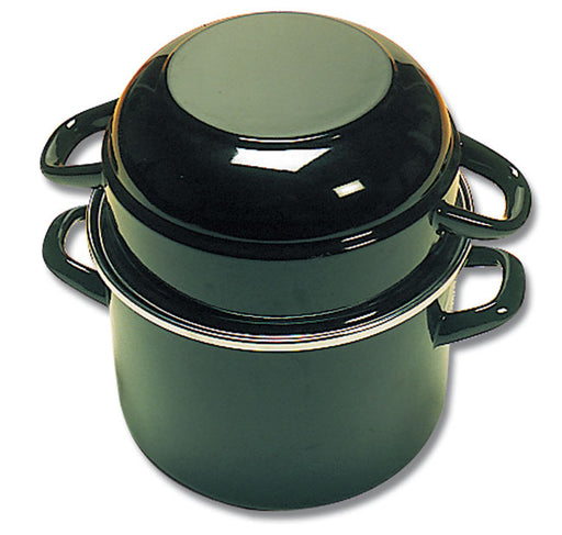 Black Cocotte - Enameled Steel Mussel Pan With Lid -   (Matfer Bourgeat)