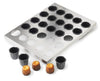 EXOGLASS CANNELE BAKING SET 1 1/3 in.: Stainless steel tray holds 30 individual Exoglass cake molds. Easy and fast handling for filling and baking. Molds are removable. Made of composite material suitable for both savory and sweet creations. • I