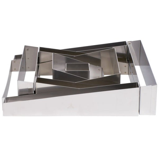 French Style Wedding Cake Frames Only Set Of 5 Stainless Steel Shapes - Round, Square Or Deconstructed (Matfer Bourgeat )