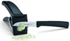 "GARLIC PRESS/CUTTER: Cuts garlic into 2 mm (3/32"") cubes. Stainless steel grille and blade. 9 x 2 1/3 x 2"