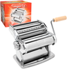 MANUAL IMPERIA 150 PASTA MACHINE: The most multi-purpose pasta machine, can be used with various easily interchangeable cutters. Width of cutters and rolling mill: 143 mm. The thickness of the pasta can be adjusted at the push of a button. A smo