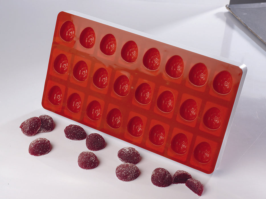 24 Compartment Fruit Jelly Flexible Half Strawberry Mold  (Matfer Bourgeat)