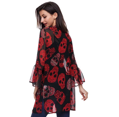 Women's Skull Print Sheer Loose Kimono Cardigan Tops Blouse Cover up