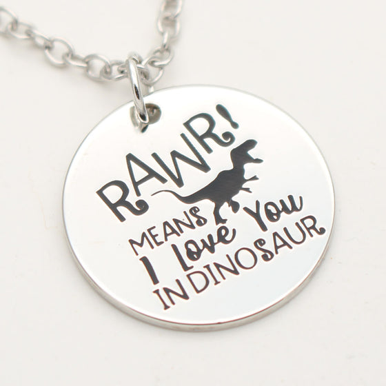 Dinosaur Necklace Valentines Gift