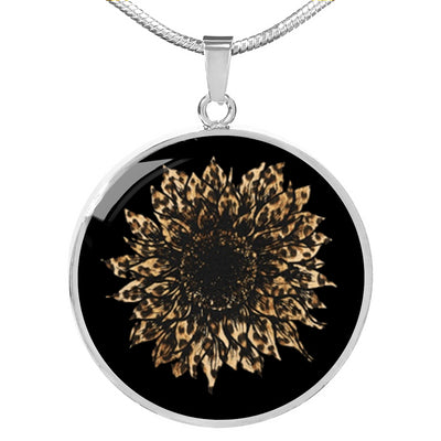 Luxury Leopard Print Sunflower Necklace