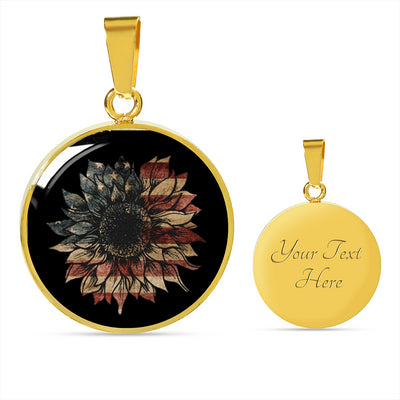 Luxury American Flag Sunflower Necklace