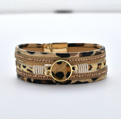 Winter Wear Bohemian Leopard Leather Bracelets