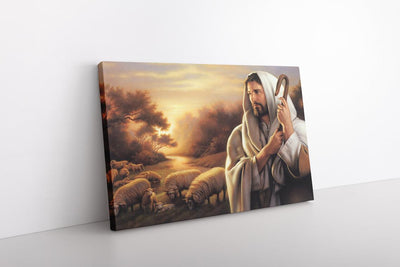 Jesus Christ The Good Shepherd Painting on Framed Canvas