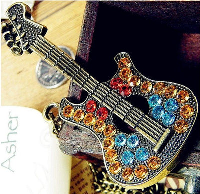 Multicolor Rhinestone Guitar Pendant Necklace