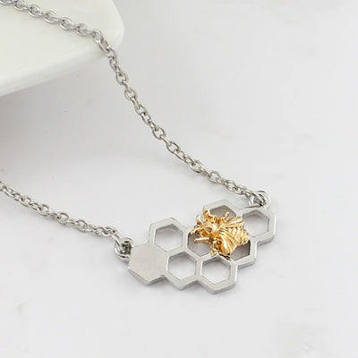 Bee Honeycomb Pendant Necklace
