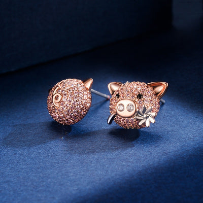 Pig Micro-Inlaid Zircon Stud Earrings