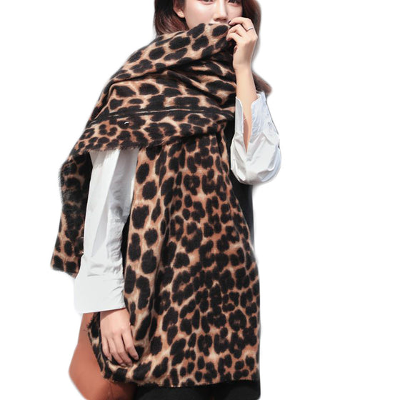 Large Cashmere Winter Leopard Scarf