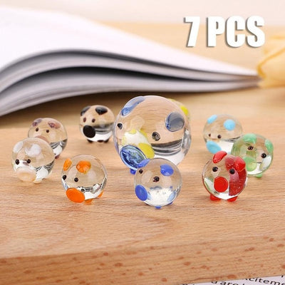7 PCS Crystal Pig Shaped Ornaments
