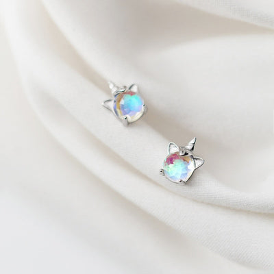 925 Sterling Silver Korea Style Unicorn Stud Earrings