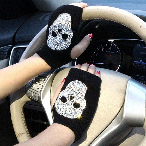 Bling Skull Half Finger Winter Gloves