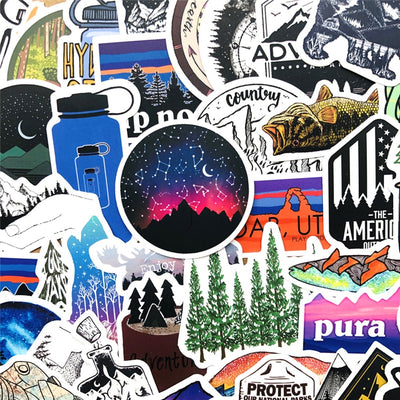50PCS Outdoor Adventure Hiking Camping Stickers