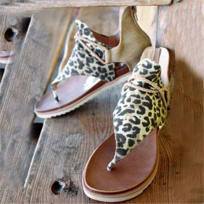 Summer Leopard Print Women Flat Sandals