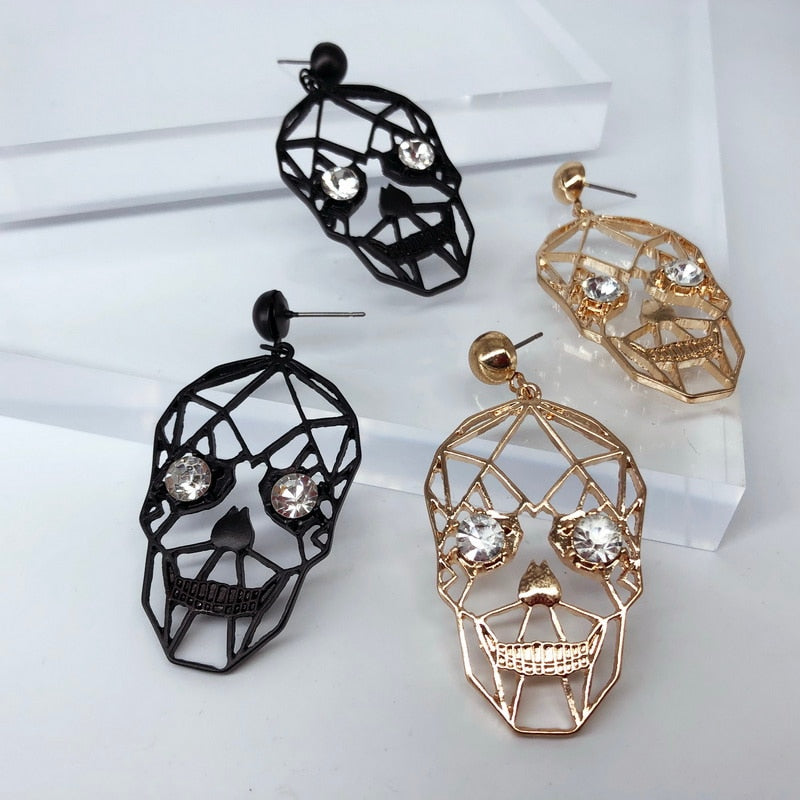Vintage Hollow Skull Head Drop Earrings