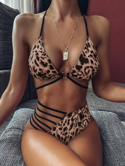 Leopard Print Cut Out Swimwear