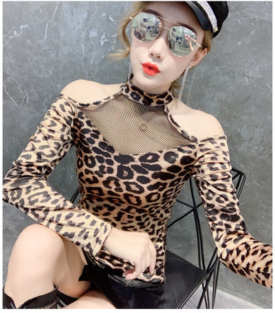 Leopard Print Long Sleeve T-shirt Plus Size