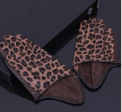 Leopard Print Genuine Leather Gloves
