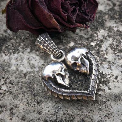 Double Skull Heart Necklace Pendant