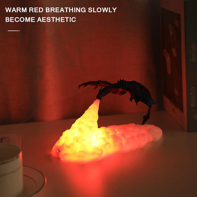3D Printed LED Fire Dragon Lamps Night Light