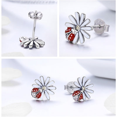Authentic 925 Sterling Silver Hippie Daisy Flower Red Ladybug Stud Earrings