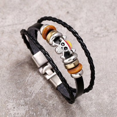 Luffy Pirate Skull Leather Rope Bracelet