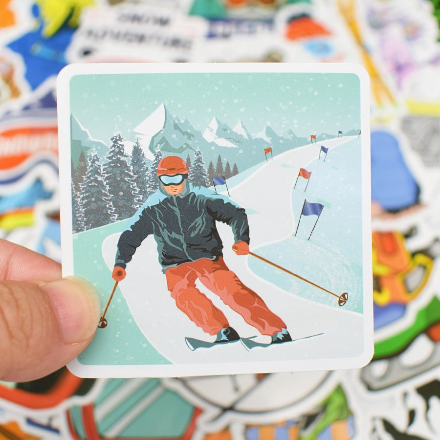 50 Pieces Winter Skiing Adventure Stickers