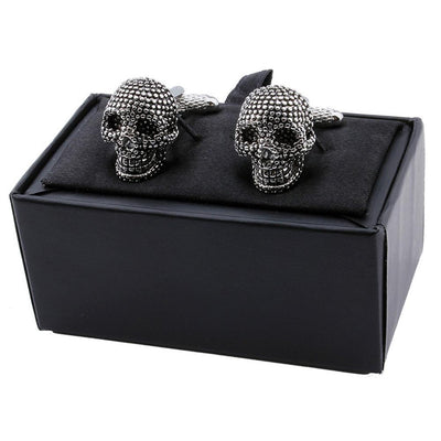 Skull Cufflinks Luxury Black Enamel Men