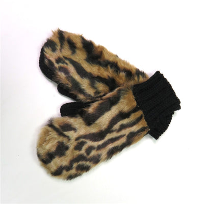 Leopard Print Faux Fur Gloves Mittens For Winter