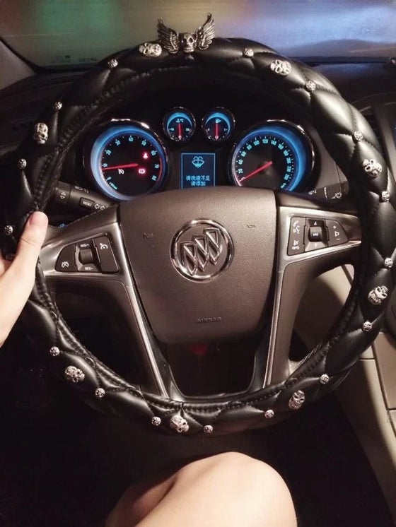 Wings Skull Leather Car Steering Wheel Covers