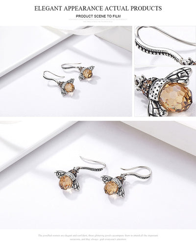Genuine Silver Orange Bee Drop Earrings