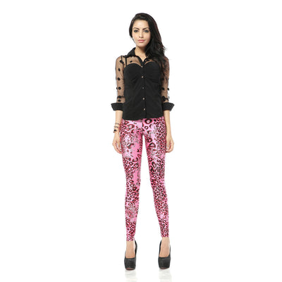 Cute Pink Leopard Leggings