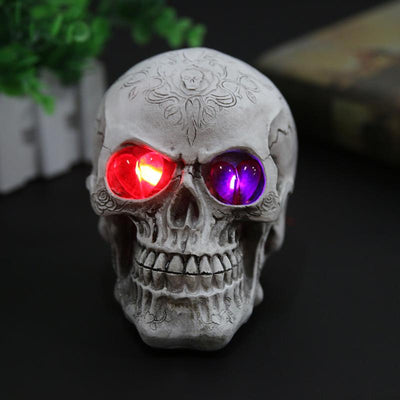 New Resin Eyes Luminous Skull Halloween Statue