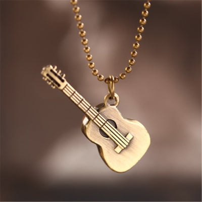 Vintage Bronze Color Guitar Metal Chain Necklace