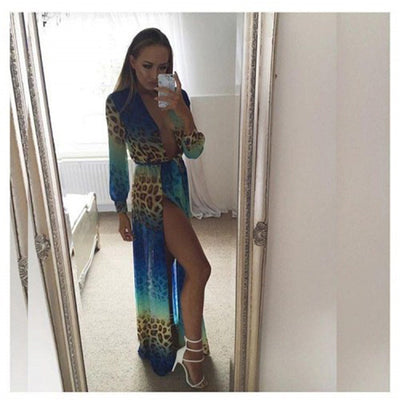 Blue Leopard Print Summer Beach Maxi Dress