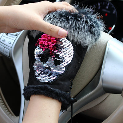 Winter Sequin Half Finger Skull Gloves