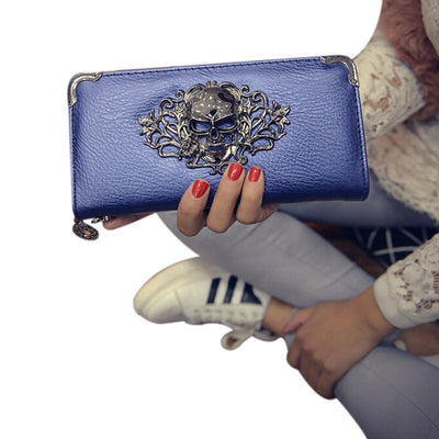 Women Metal Skull Wallet