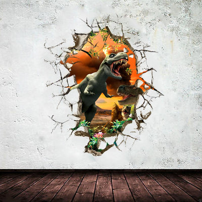 3d dinosaur breaking Wall Stickers
