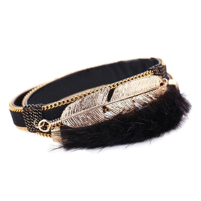 Boho Leopard Fur Feather Bracelets