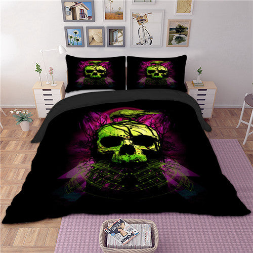Green Skull Bedding Set