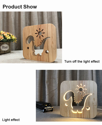 Nightlight Wooden Dinosaur Desk LED