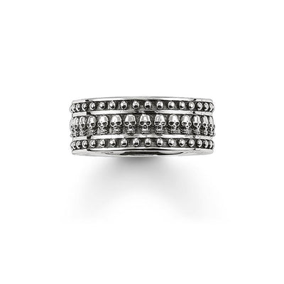 Silver Skulls Eternity Rings