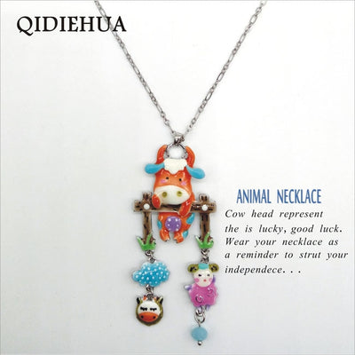 Cute Cartoon Cow Head Necklace
