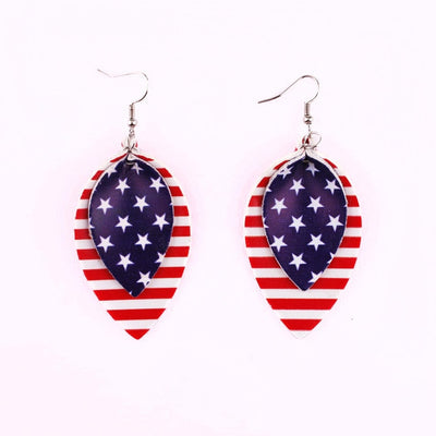 New American Flag Leather Earrings Independence Day Gift