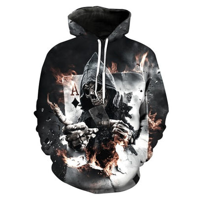 Winter Skull Poker Hoodies